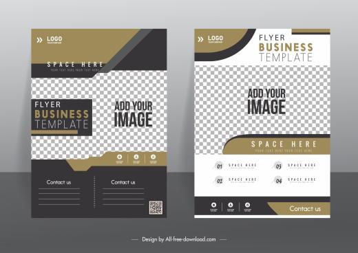 corporate flyer template elegant modern checkered decor