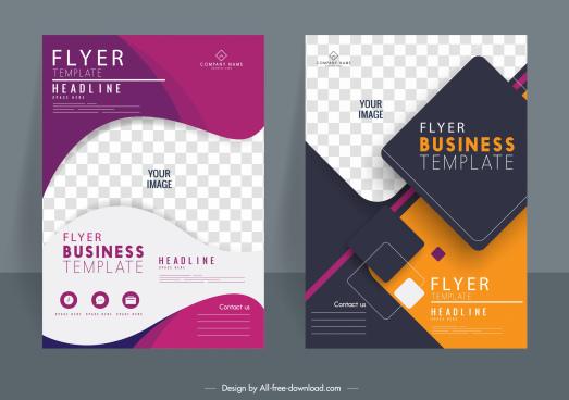 corporate flyer template elegant modern geometric checkered decor