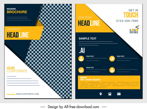 corporate flyer template elegant modern geometric decor