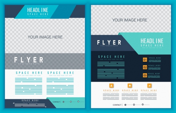 corporate flyer template modern checkered design