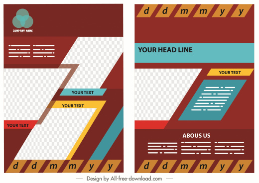 corporate flyer template modern colorful geometric layout