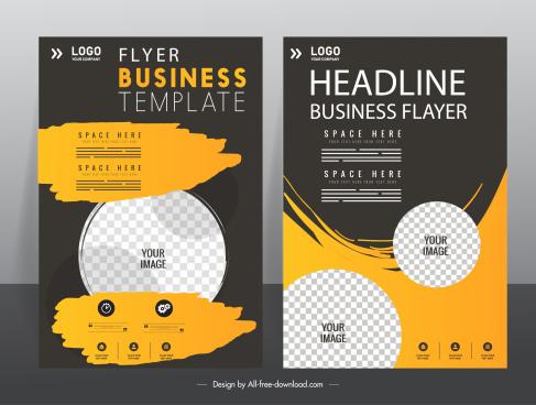 corporate flyer template modern dark checkered circle grunge