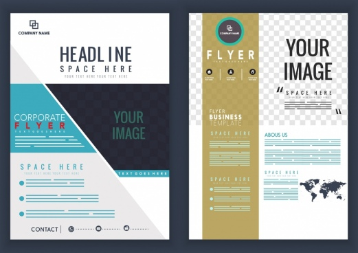 corporate flyer template modern design checkered decor