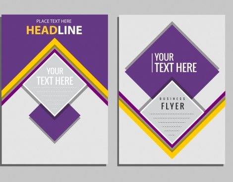 corporate flyer template violet polygon ornament modern design