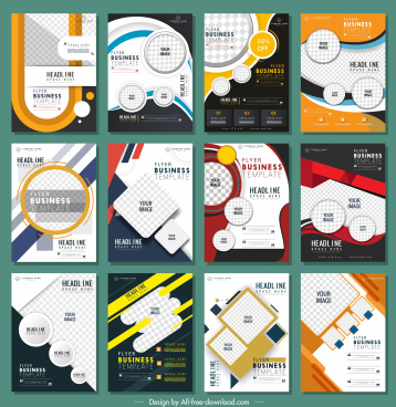 corporate flyer templates collection colorful contemporary decor vertical design