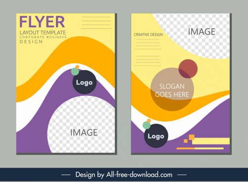 corporate flyer templates colorful dynamic curves checkered decor