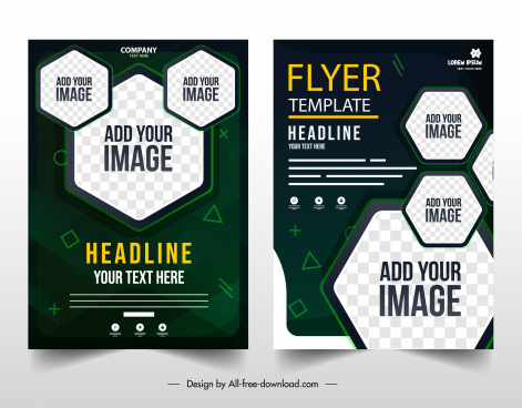 corporate flyer templates contrast modern checkered polygonal shapes