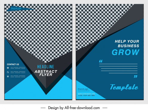 corporate flyer templates dark elegant checkered decor