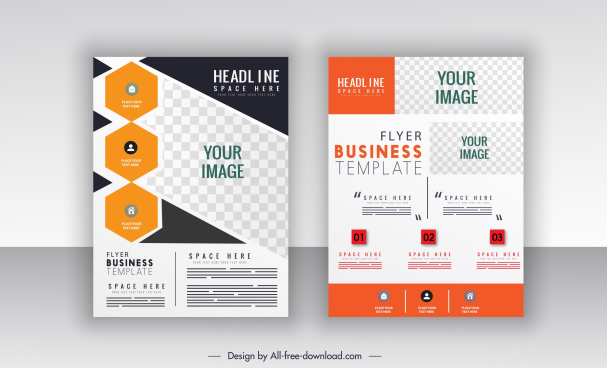 corporate flyer templates flat checkered decor bright modern