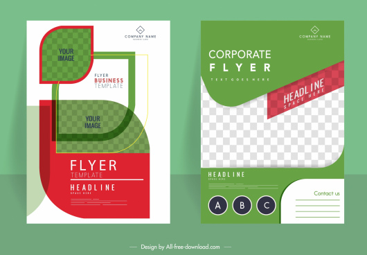 corporate flyer templates green leaf shape checkered decor
