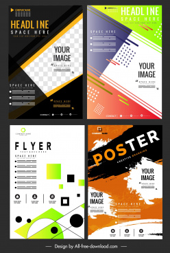 corporate flyer templates modern abstract colorful decor