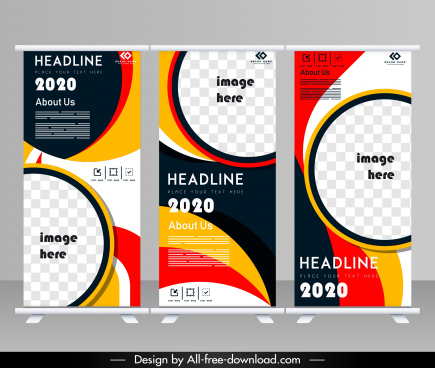 corporate flyer templates modern colorful circle swirled decor