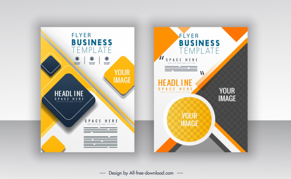 corporate flyer templates modern colorful flat geometric decor