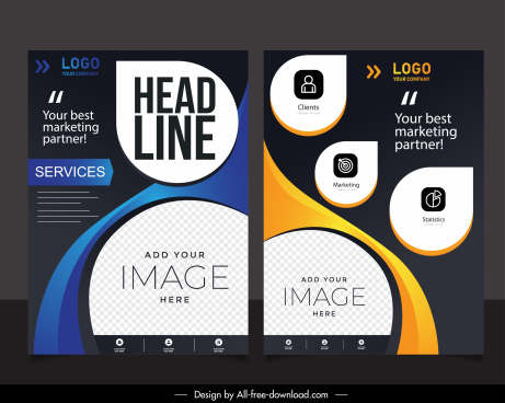 corporate flyer templates modern dark rounded shapes decor