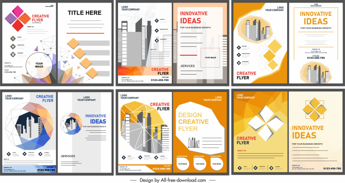 corporate flyers templates colored modern bright design