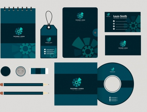 corporate identity collection dark blue design mechanism ornament