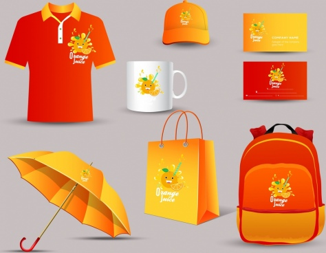 corporate identity collection orange juice decoration