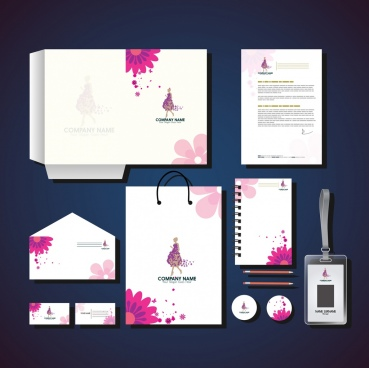 corporate identity collection pink flowers ornament