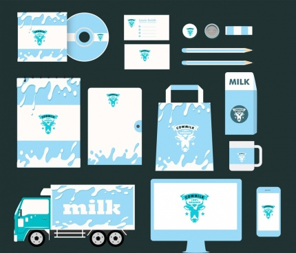 corporate identity collection splashing milk icon blue design