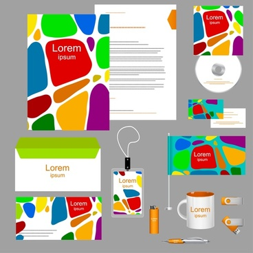 corporate identity design elements with colored abstraction style