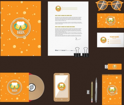 corporate identity sets beer icons decoration