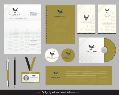 corporate identity sets bird logo decor