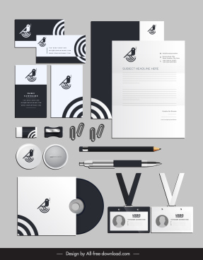 corporate identity sets bird sketch elegant black white