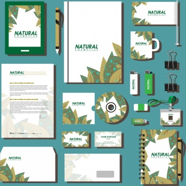 corporate identity sets brown leaves decoration