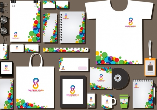 corporate identity sets colorful circles curves decoration