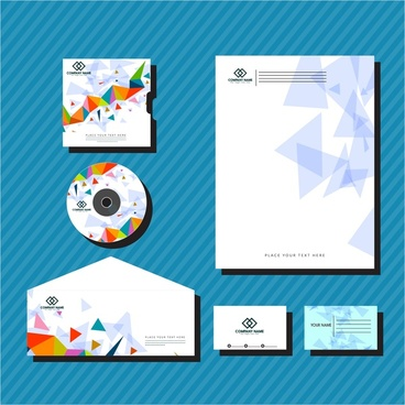 corporate identity sets colorful triangles vignette style design