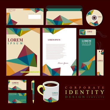 corporate identity sets design with origami style