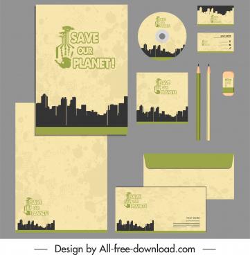 corporate identity sets earth saving theme silhouette design