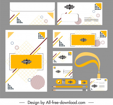 corporate identity sets flat abstract geometric decor