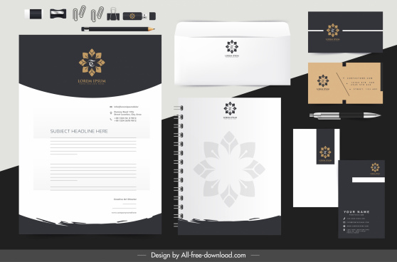 corporate identity sets flower logotype black white decor
