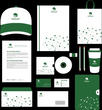 corporate identity sets green design dots connection ornament