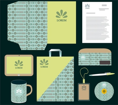 corporate identity sets in green and blue colors