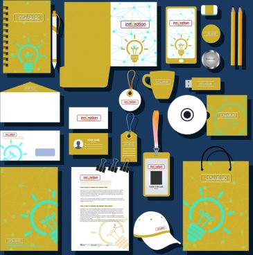 corporate identity sets innovation style yellow bulb decor