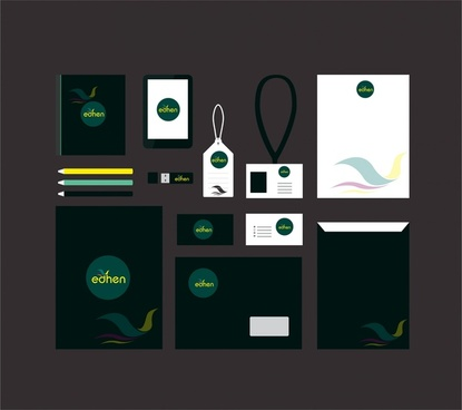 corporate identity sets logo design on blank background