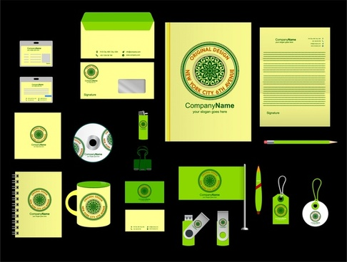 corporate identity sets logotype in green design