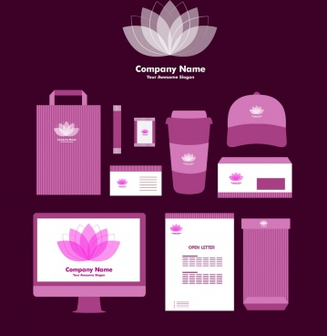 corporate identity sets lotus icon sketch violet decoration