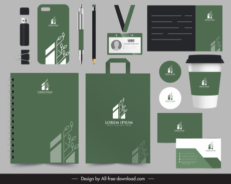 corporate identity sets modern flat decor dark design