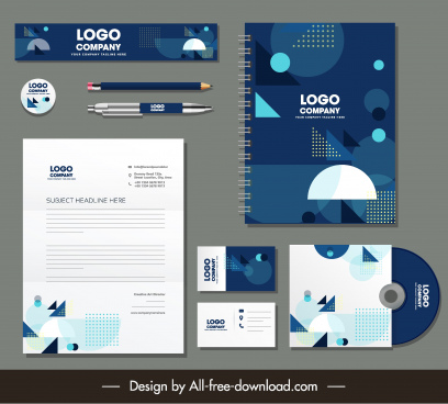 corporate identity sets modern geometric decor