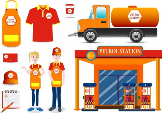 corporate identity sets petro station design orange ornament
