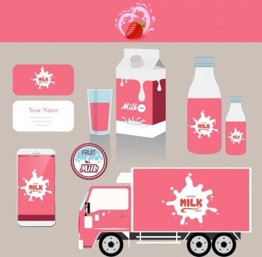 corporate identity sets splashing milk logo pink decoration