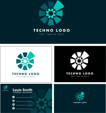 corporate identity sets technology style logo name card