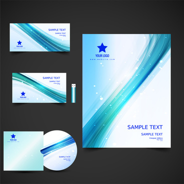 corporate identity sets vector illustration with office utensils