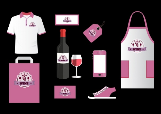 corporate identity sets violet decoration wine logotype