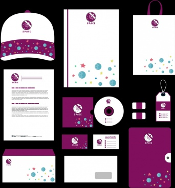 corporate identity sets violet design stars icons ornament