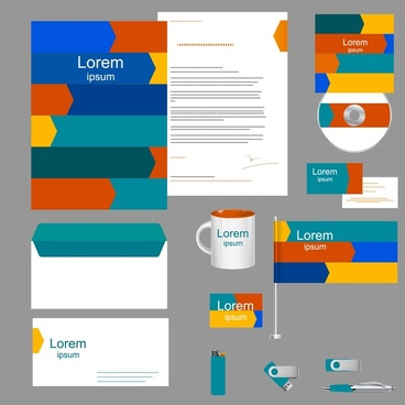 corporate identity sets with colorful design