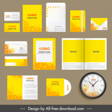 corporate identity templates abstract yellow polygon decor